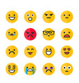 emoticons set emoji smile icons on white vector image