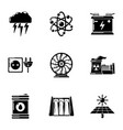 energy source icons set simple style vector image vector image