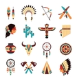 Ethnic american indigenous icons set vector image vector image