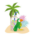 exotic bird and summer vector image