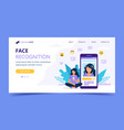 face recognition technology landing page woman vector image vector image