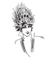feather hat 20th century design vintage engraving