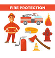 fire protection and extinguishing equipment tools vector image