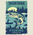 fishing vintage poster vector image
