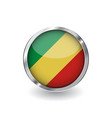 flag of congo button with metal frame and shadow vector image vector image