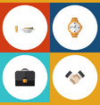 flat icon lifestyle set of briefcase lunch timer vector image vector image