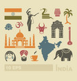 flat icons of india vector image vector image