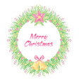 floral frame design with merry christmas text vector image