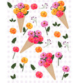 flowers in a cone carnation pattern vector image vector image