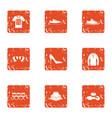 garment icons set grunge style vector image
