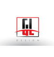 gl g l logo letters with red and black colors and vector image vector image