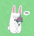 hand drawn cute bunny with bouquet of flowers vector image vector image