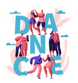 happy couple dance together typography banner vector image vector image