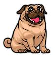 happy cute cartoon pug dog vector image vector image