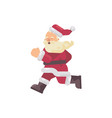 happy santa claus running flat christmas character vector image