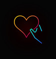 heart in hand outline colored icon or sign vector image