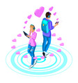 isometry girl and boyfriend are in love vector image vector image