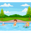 kids playing in swimming pool vector image vector image