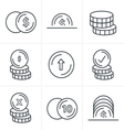 Line Icons Style Coins Icons Set Design black colo vector image vector image