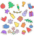 new year icons set christmas stickers vector image vector image
