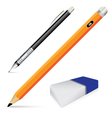 Pencil eraser and pen isolated on white background vector image vector image
