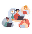 people working from home students or employees vector image