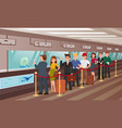 queue for boarding registration flat vector image