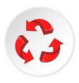 Red recycling symbol icon cartoon style vector image vector image