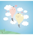 Romantic balloons in the sky with clouds vector image