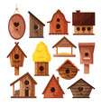set different wooden handmade bird houses vector image vector image