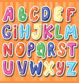 set of cute stickers with cartoon english letters vector image
