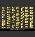 set of gold paint ink brush strokes brushes vector image vector image