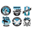 set surfing badge design vector image