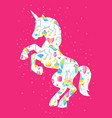 silhouette of unicorn with fantasy items and vector image vector image