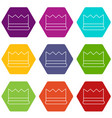 silver crown icons set 9 vector image vector image