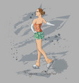 sketch figure skater color vector image vector image