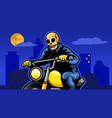 skull motor biker at city night vector image