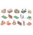 sport stadium isometric collection vector image vector image