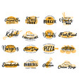 street fast food and snack icons lettering vector image vector image