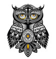Tattoo art owl vector image