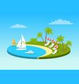 tropical beach on sunny ocean shore circle concept vector image vector image