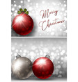 two christmas card templates with silver and red vector image