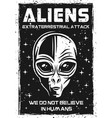 vintage poster with alien head vector image vector image