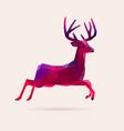 vivid neon christmas polygonal reindeer vector image
