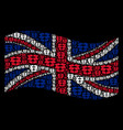 waving great britain flag pattern of open box vector image