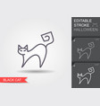 witches cat line icon with editable stroke vector image
