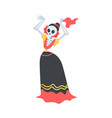 woman skeleton in mexican traditional costume vector image vector image