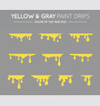 yellow and gray dripping paint set liquid drips vector image