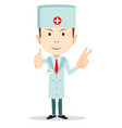 funny cartoon of a friendly doctor vector image