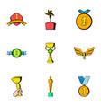 achievement icons set cartoon style